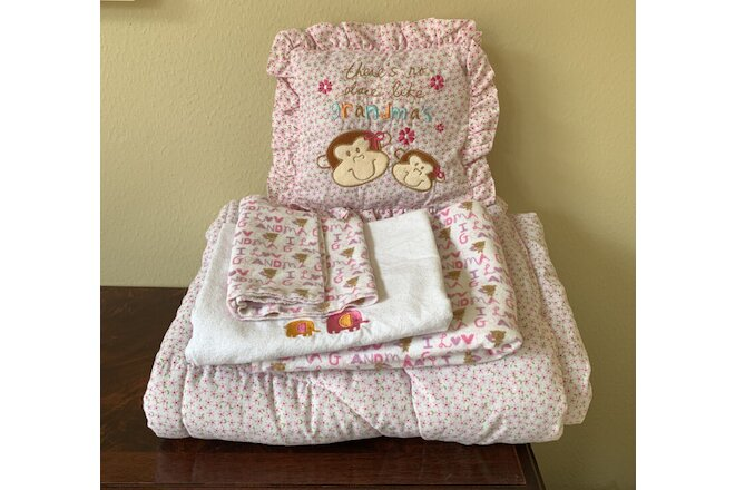 GRANDMA BABY GIRL Comforter & Pillow Set w/ Burp Pad Receiving Blankets PREOWNED