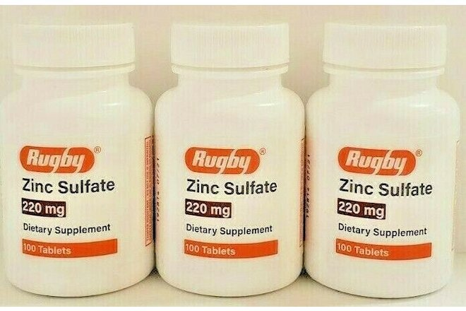Rugby Zinc Sulfate 220mg Supplement 100 Tablets -3 Pack -Expiration Date 07-2022