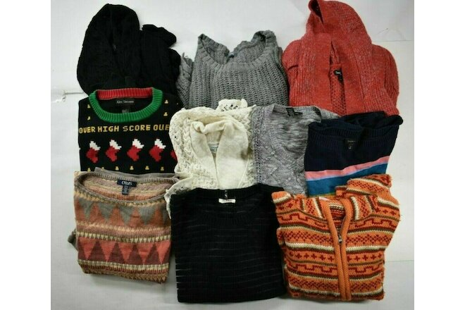 Wholesale Lot of 10 Women's Small Fall Winter Sweaters Casual & Business Casual