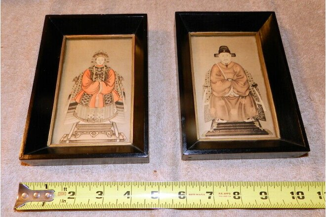 Pair of Chinese Emperor Empress Portraits Mini Portraits in Wood frames VINTAGE