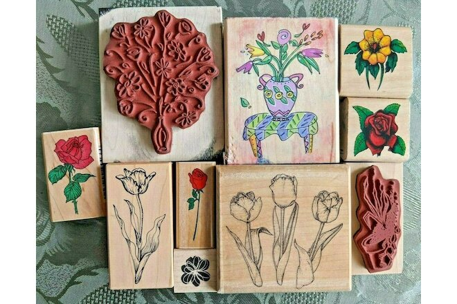 Lot of 10 Flower Floral Themed Rubber Stamps