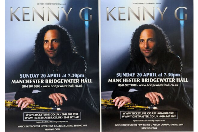 KENNY G 2012 MANCHESTER BRIDGEWATER HALL FLYERS X 2