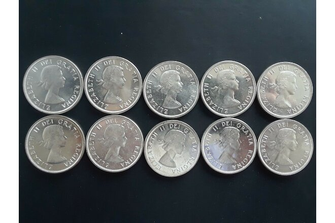Canada silver 1 dollar 1961 lot of 10 , Elizabeth II 23.33g .800