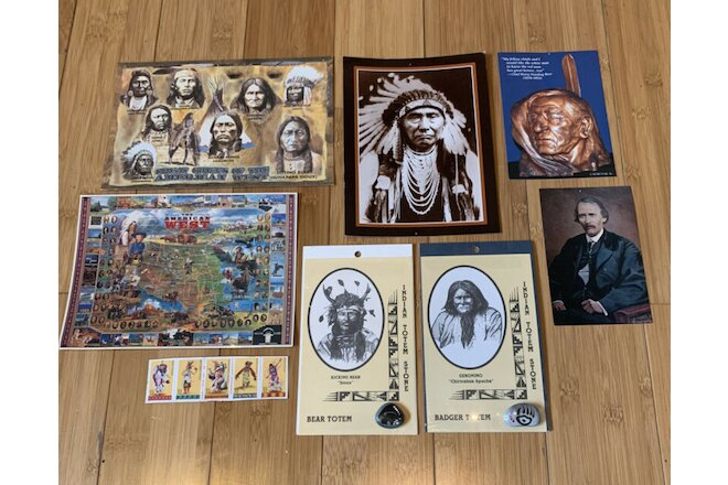 Lot of 8 Various Native American/Wild West Items -Stamps,Postcards,Totems -Nice!