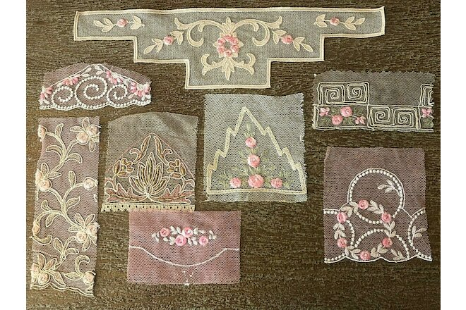 8 antique vintage Swiss pink hand loomed floral embroidered net pieces - dolls