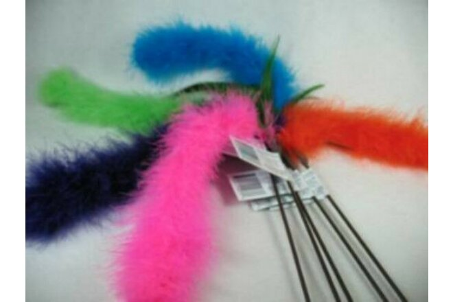 5 Cat Tail Marabou Feather wand toy toys kitten pole Free shipping