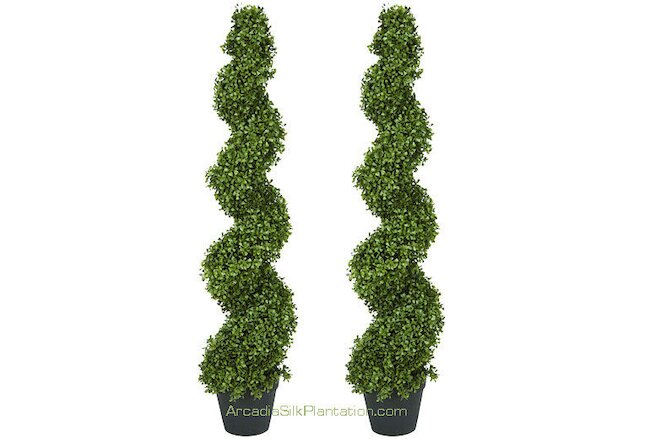 "2 ARTIFICIAL 4' 2"" BOXWOOD SPIRAL TOPIARY IN OUTDOOR TREE PLANT BUSH PATIO 50"""