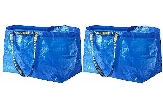 2 New IKEA Blue BAG IKEA Large Bag Ikea Bag REUSABLE TOTE STORAGE FRAKTA 19 Gal