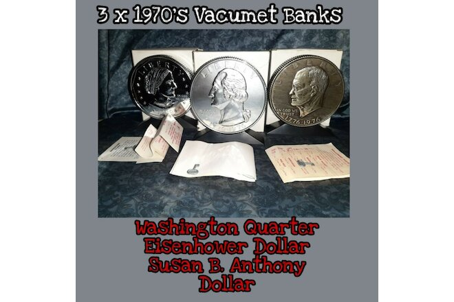3 Vintage lot Vacumet quarter Silver Dollar Coin Bank key Washington Eisenhower