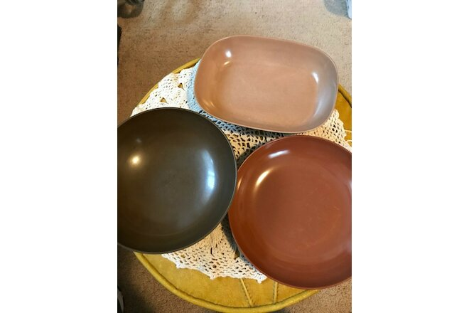 Vintage Melmac/Plastic 2 Unmarked 1 Texas-Ware Brown Serving Dish's