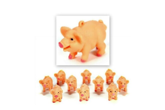 LOT OF 10 SOFT PLASTIC PIGS Small Tiny Toy Craft Gift NEW Little Farm Animal Pig