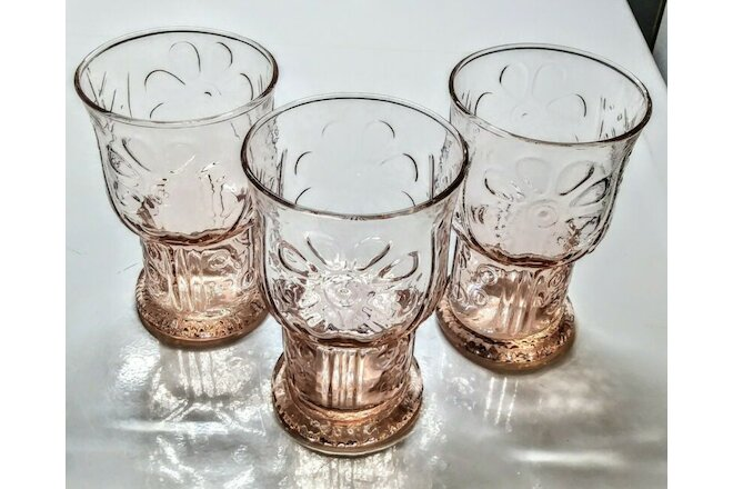 Vintage Libbey Country Garden Embossed Pink Glass 12 oz Daisy Tumblers Set of 3