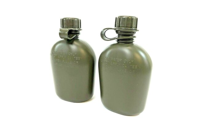 2 Pack USGI 1 Quart Canteen, US Military Heavy Duty Plastic Bottle, Olive Drab