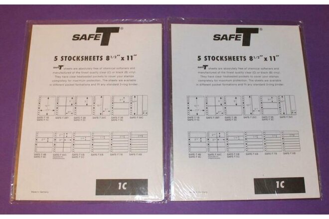 2 Packs of 5 (10 total) 8-1/2 x 11 Safe-T One Pocket Stock Sheets Size 1C Clear
