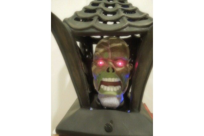 Gemmy Halloween Animated Talking Head Lighted Lantern Skull Skeleton Cage Motion