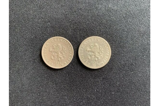 Czechoslovakia Pair of Extra Fine Condition 20 Haleru Coins 1921 & 1924