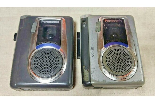 Lot 2 Pcs audio cassette player mini recorder Panasonic RQ-L10 and RQ-L30