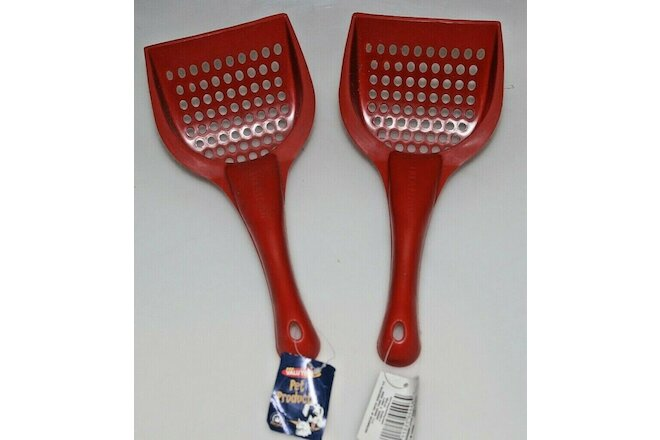 Lot of 2 Cat Scoopers / Cat Litter Scoops - Plastic / Red