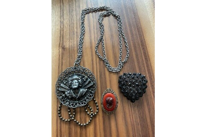 Vintage Lot 3 Mourning Pin Necklace Black Victorian Cameo Jewelry