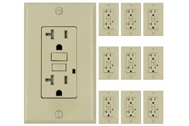 20 AMP GFCI (GFI) Receptacle Outlet -TAMPER RESISTANT - IVORY UL GFCI  (10PACK)