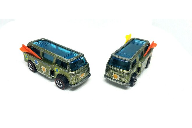 Lot Of 2 Original Vintage Redline Hot Wheels Olive Colored Beach Bombs From 1969