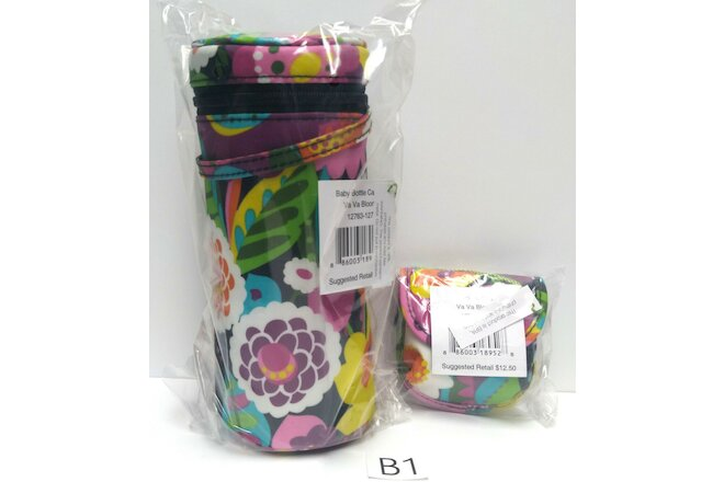 2pc Set Vera Bradley VA VA BLOOM Baby Bottle Caddy Pacifier Pod New with tags B1