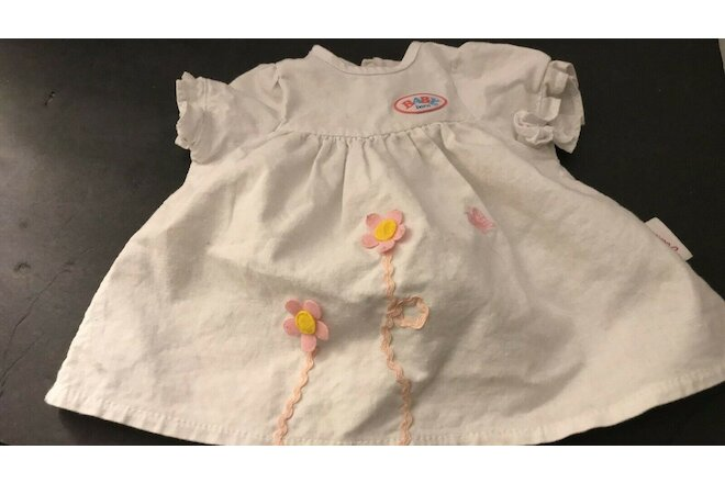 ZAPF CREATION BABY BORN WHITE-PINK DOLL DRESS ZAPF DOLL DRESS GERMANY  FREE SHIP