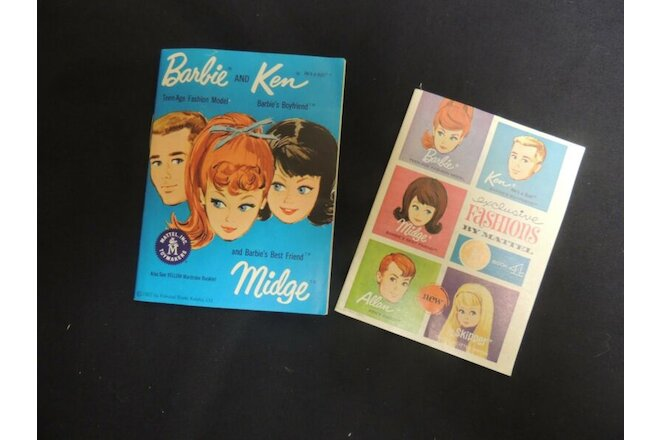 1962 1963 Barbie Ken Booklet Catalog Mattel Doll 2 pieces minature Midge Skipper
