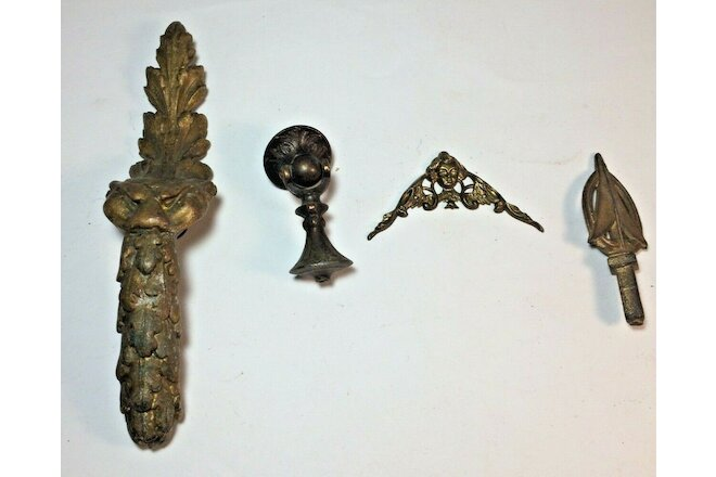 Antique Lot of 4 Clock Brass and Cast Ornate Hard To Find Ornamentation Pieces