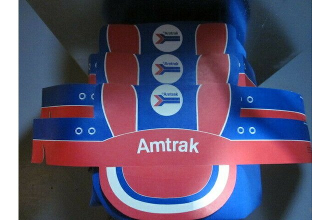 3 AMTRAK PAPER RAILROAD CAPS/ NEW/ ADJUSTABLE/ CHILDREN'S RAILROAD HAT/ VINTAGE
