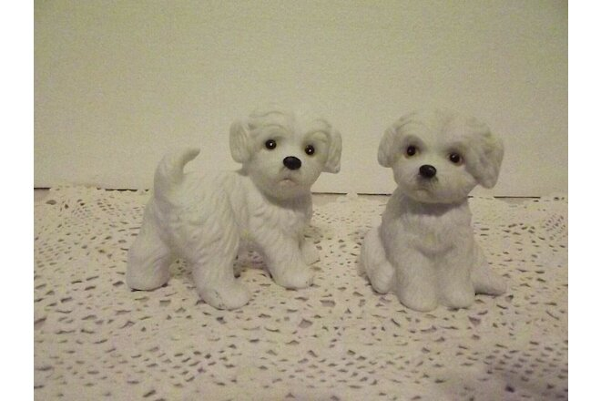 Vtg Set~2~White Maltese Puppies Westies Homco #1411 Home Interior Shih Tzu Dog