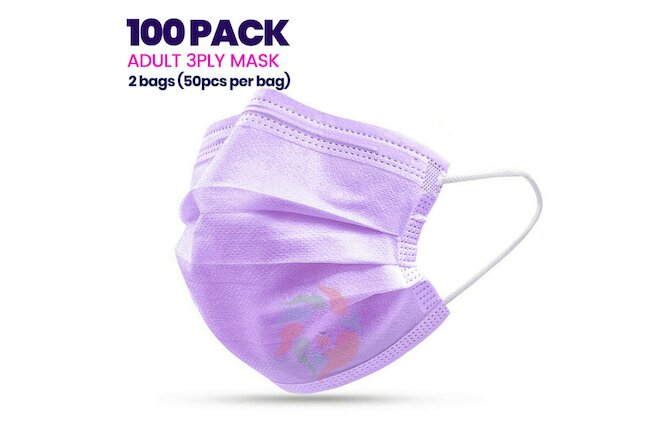 [100 PACK] SEALED Purple Disposable 3Ply Face Mask Adult Non-Medical Dental