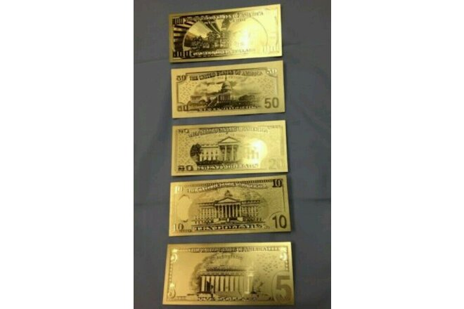 FULL MINT Set W/ Sleeves~GOLD Rep*Banknotes $1,$2,$5,$10,$20,$50 &$100 DOLLARS!