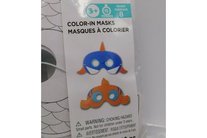 Lot 3 Packages Creatology Color In Masks Shark Goldfish Ages 3+ New