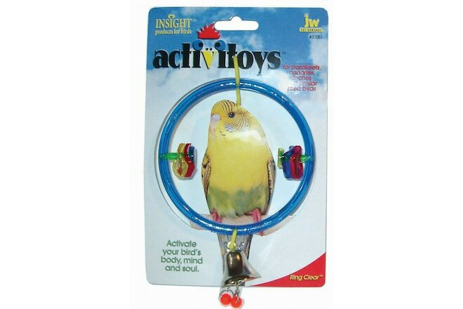 JW Pet Activitoy Ring Clear Brightly Colored Hanging Ring Bird Toy - 2 Pack