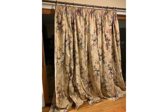 Designer Custom floral drapes with matching valance