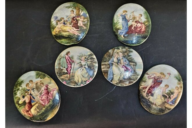 6 Antique French Painted Romantic Scene Porcelain Plaques