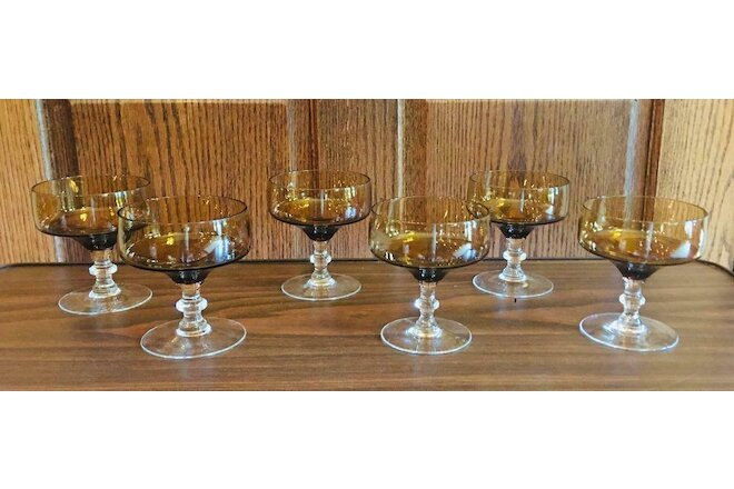 VINTAGE Amber Sundae Dish Cups Glass 1-Cup Dessert Parfait  Set of 6