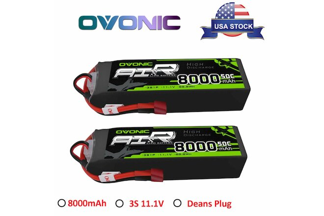 2Pcs OVONIC 8000mAh 50C 3S 11.1V Lipo Battery Deans Plug For RC Car Truck Buggy