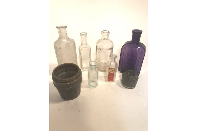Apothecary, Medicine, Bottles Industrial Glass Mercantile Lot-8, free shipping