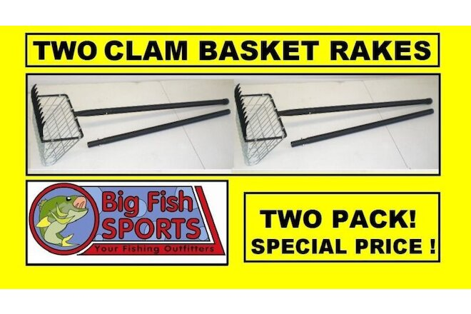 TWO CLAM RAKE BASKETS With 2-Piece Handle #04220-002 NEW! EAGLE CLAW, NEW!