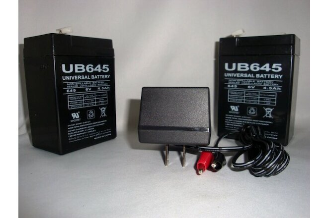 2Pack 6VOLT 4.5AH Rechargeable Game Feeder Sealed 6V SLA BATTERY w/ Wall CHARGER
