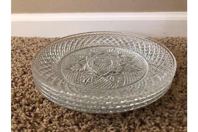 "Cristal D'Arques VINTAGE Clear 10"" Dinner Plates; SET OF 4; Excellent Condition!"