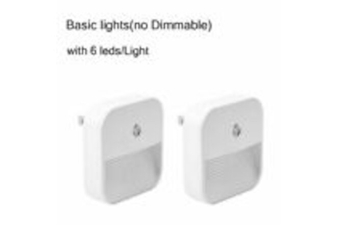 2 Pack Plug in LED Night Light Wall Lamp Dusk to Dawn Sensor 0.4W kids Bedroom