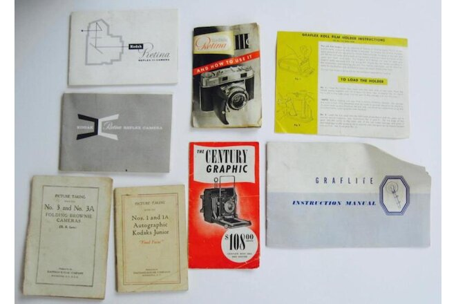 Lot 8 KODAK Retina Graflex Guides Photo Manuals Catalogs Papers Rochester NY