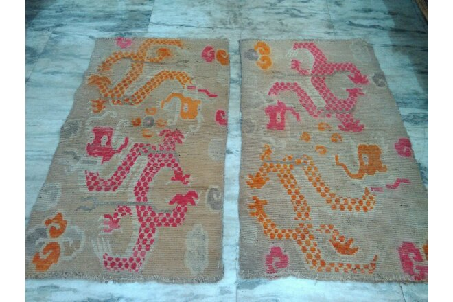 vintage  pair of TIbetan tibet dragon  handknotted wool rug khaden beige  3x5ft