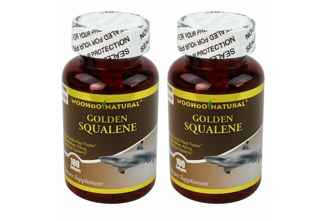 2 x WooHoo Natural Golden Squalene 1000 mg 100 SGels 100% Premium Purity Potency