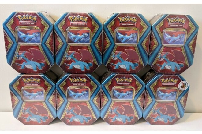 Pokemon Lot of 8 Salamence Tins XY Evolutions (10 Cards, 3 Packs) SEALED