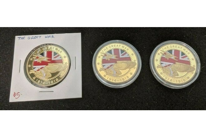 3pcs Lot of The Great War, Challenge Style Coins-with Soldier & cross reverse