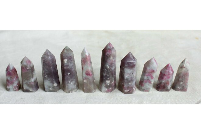 10 Pcs Rare Natural Red Tourmaline Quartz Crystal Points Tower Obelisk Healing